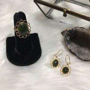 Vintage Flower Gold Green Earrings & Ring Set